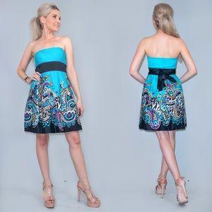 Blue Floral Pattern Strapless Sundress